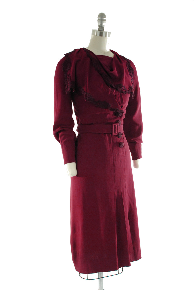 Dramatic 1930s Cranberry Colored Rayon Crepe Dress with Soutache Trim and Gorgeous Sleeves