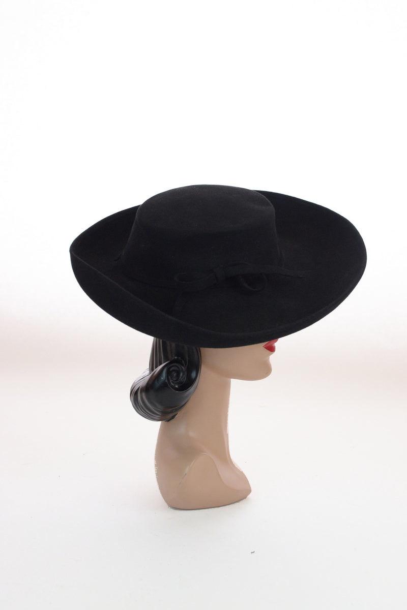 Dramatic 1940s Ladies Stetson Western Inspired Wide Brim Hat
