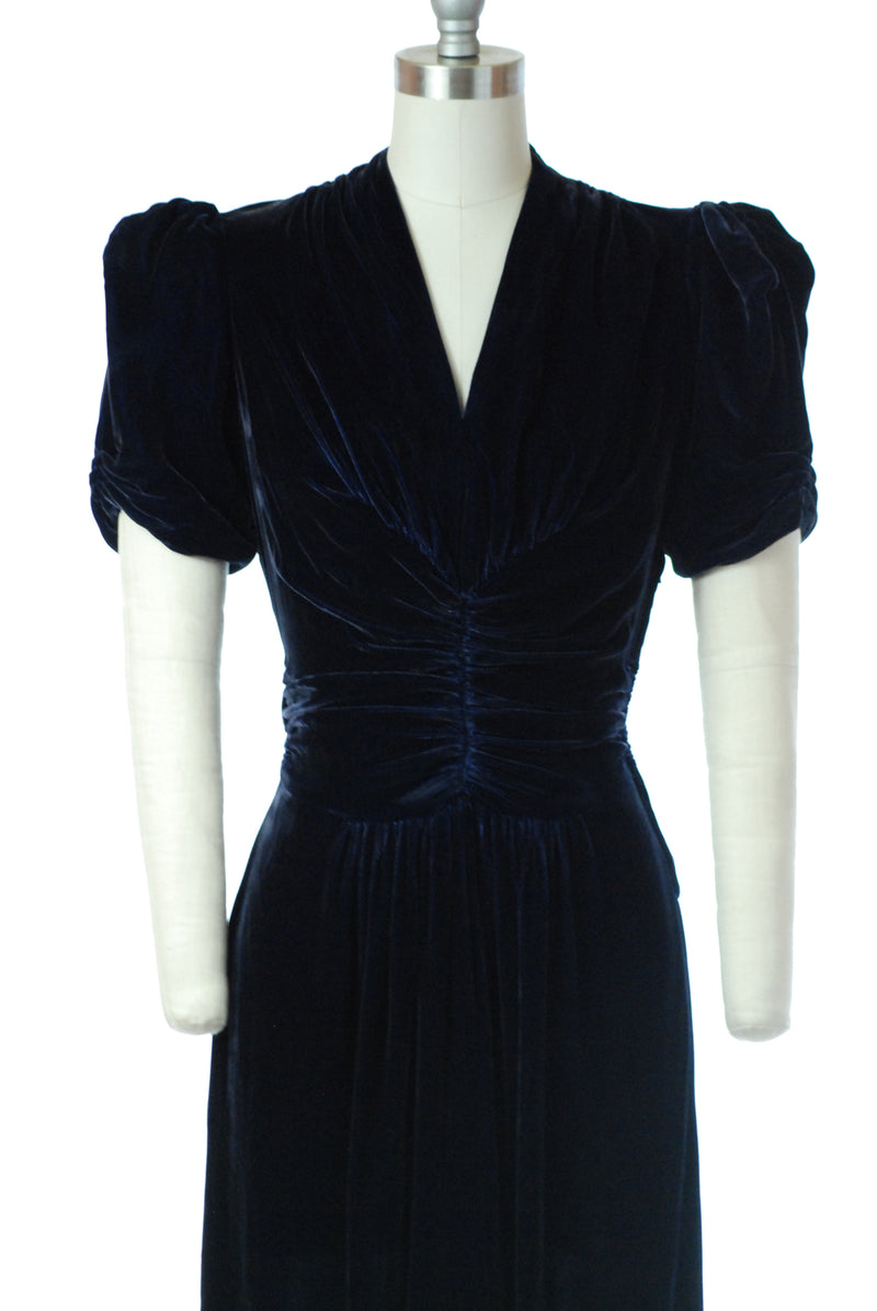 SOLD ON LAYAWAY - Elegant 1930s Blue Velvet Dress with Ruched Bodice and Puffed Sleeves