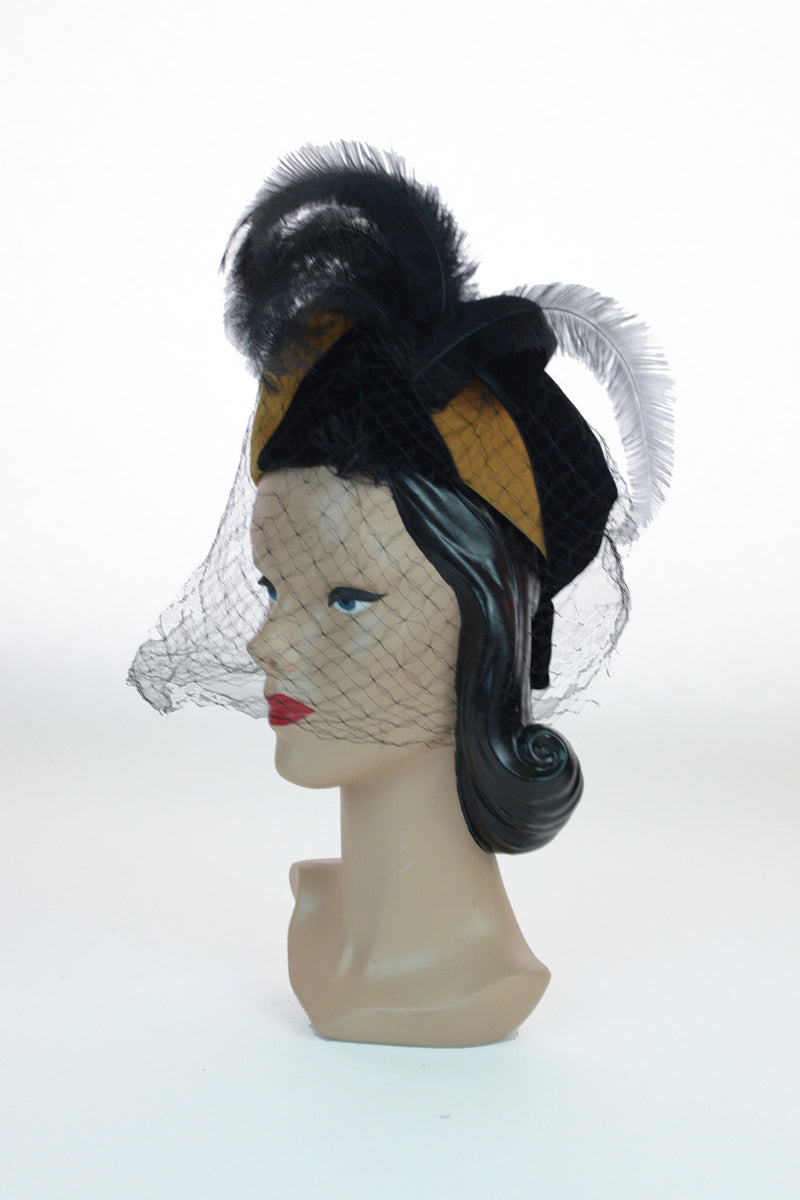 Killer 1940s Colorblock Statement Hat in Mustard and Black Velveteen with Feather Spray