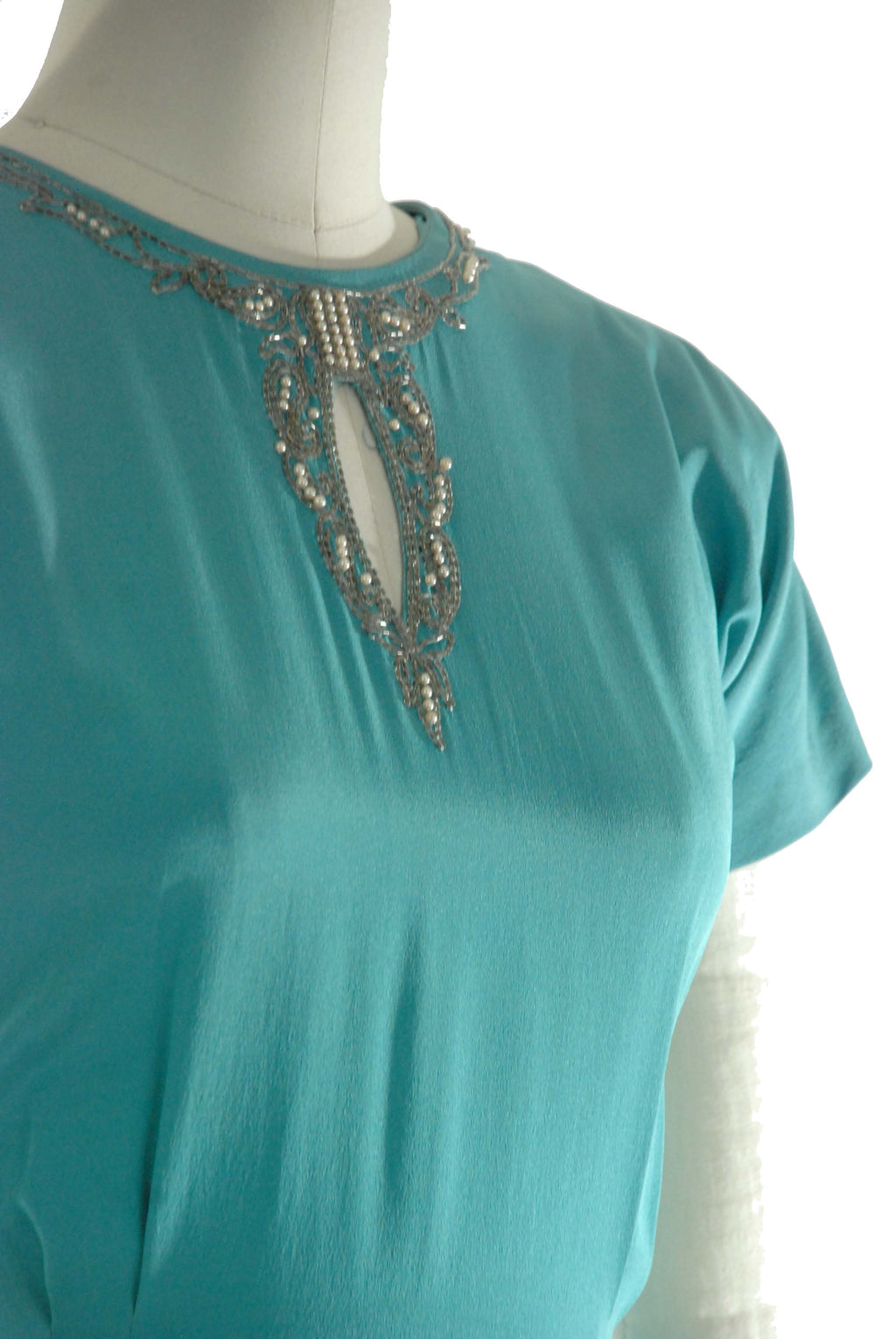 Vintage 1940s Dress by DuBarry Brilliant Turquoise Rayon Crepe with Beaded Keyhole Neckline