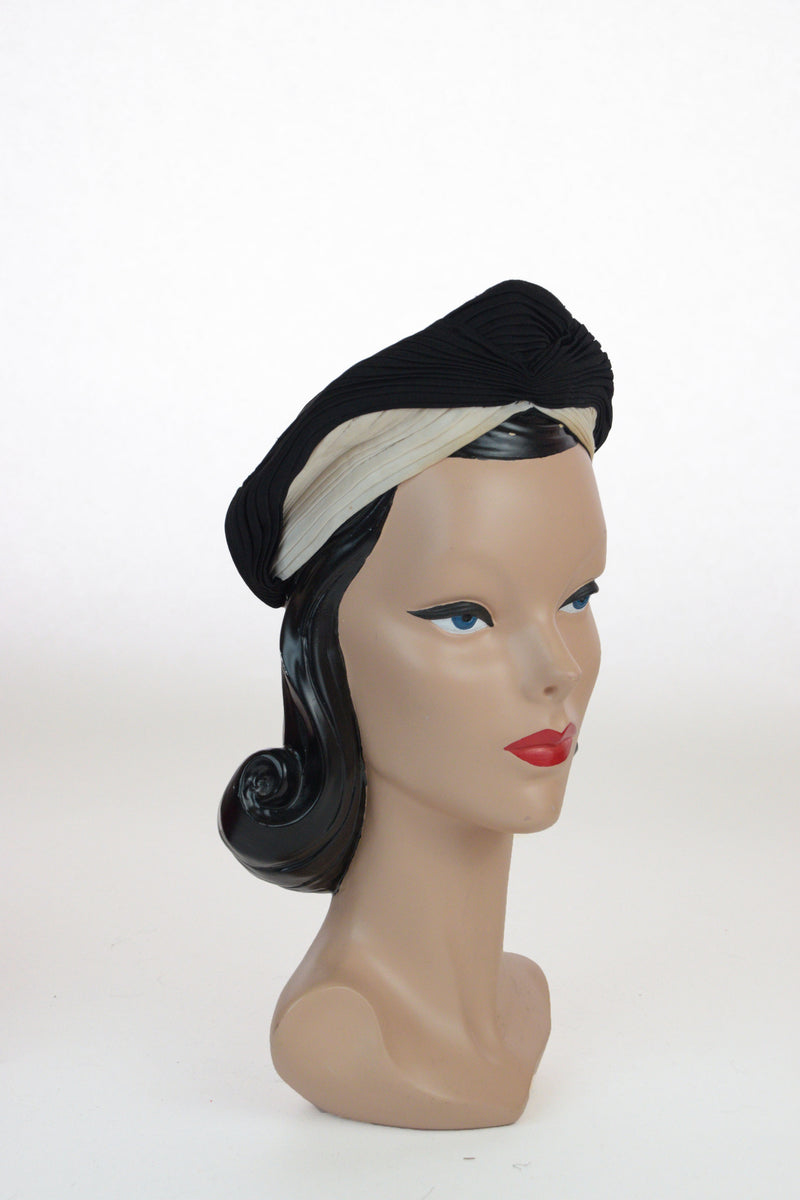 Rare 1940s Colorblock Black and White Rayon Jersey Pleated Turban