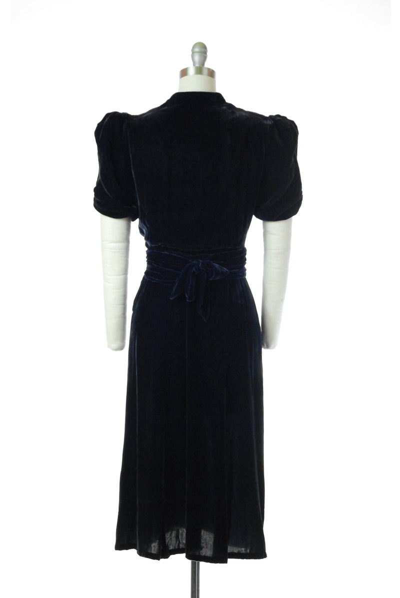 First payment - SOLD ON LAYAWAY - Elegant 1930s Blue Velvet Dress with Ruched Bodice and Puffed Sleeves