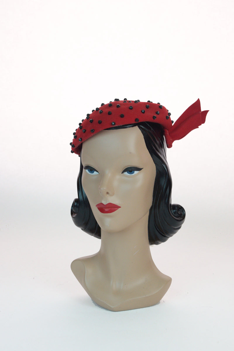 Sassy 1940s Black Studded Cap with Asymmetric Accent