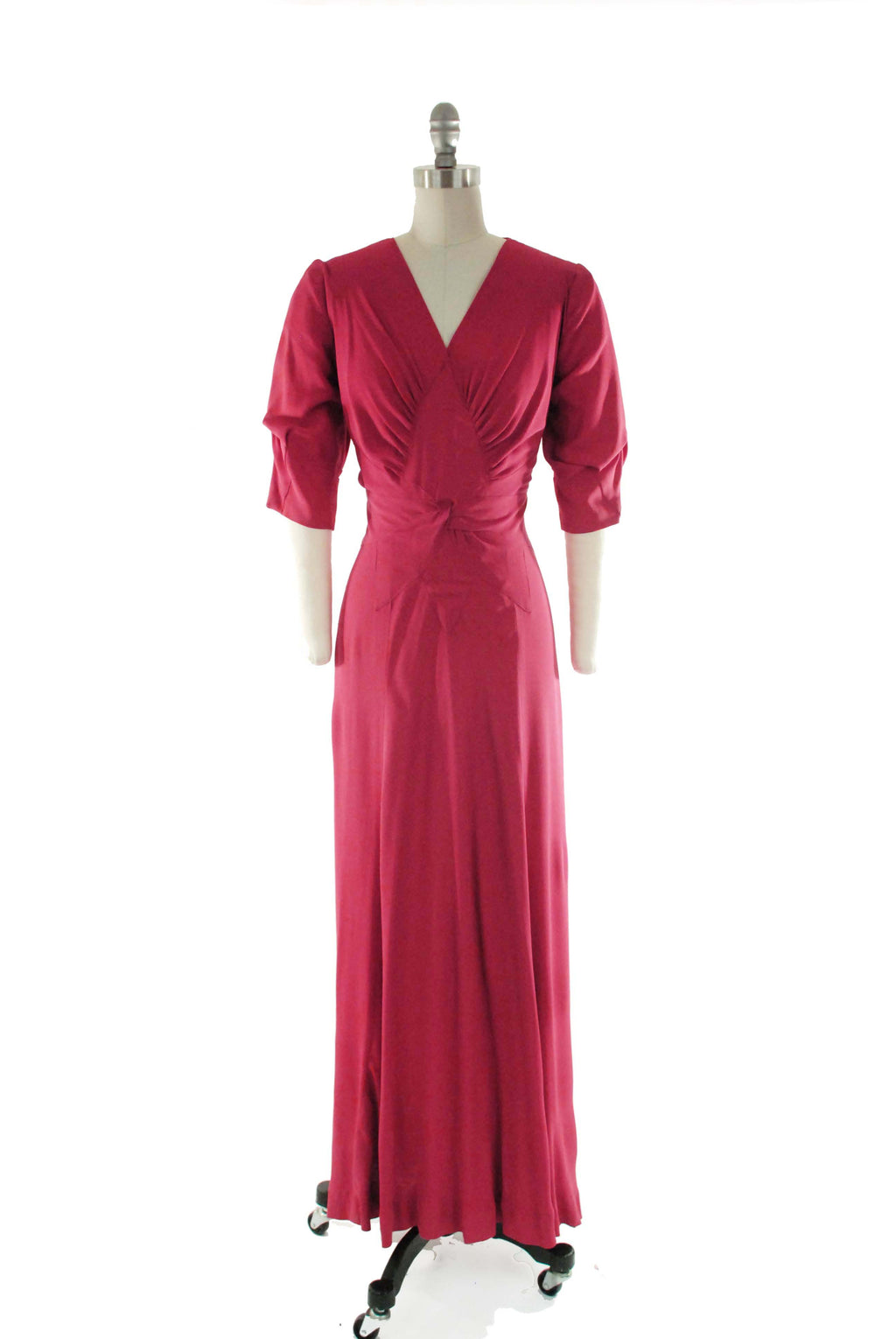 "1930s Evening Gown in Brilliant Pink-Red Rayon Crepe with Elegant Shirring And Trompe L'oeil Twist Front ""Bow"""