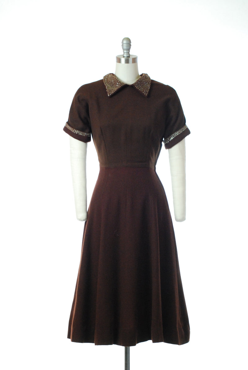Charming 1940s Chocolate Brown Wool Day Dress with Sequins