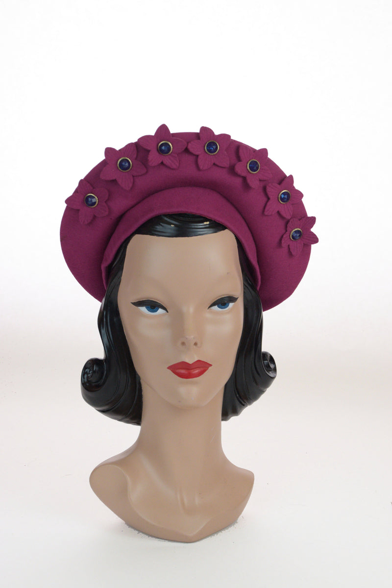 Phenomenal 1940s Fuchsia Felt Halo Hat with Blue Rhinestone Centered Flowers
