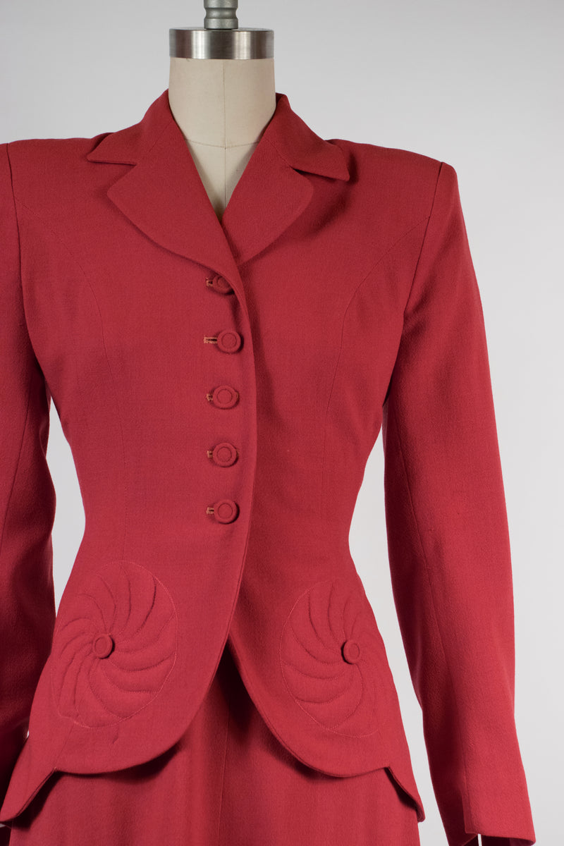 Stunning Late 1940s Dream Suit a Off-Red Wool with Scalloped Trapunto Hem