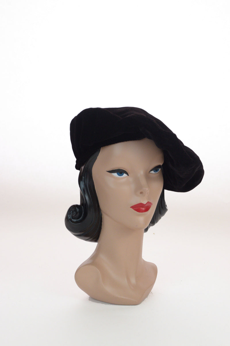Classic 1930s Softly Slouched Black Velvet Turban, a New York Creation sold at I. Magnin