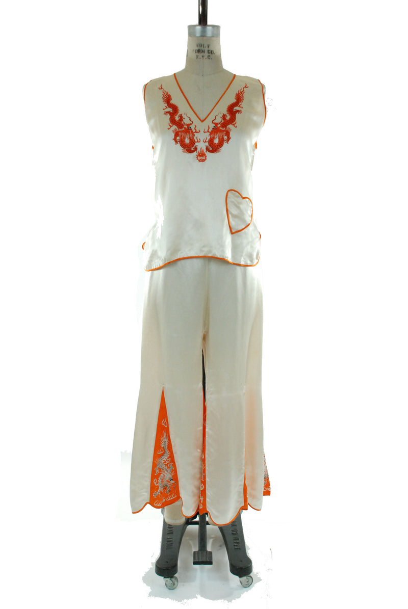 Rare Ivory and Orange Satin Chinese 30s Loungewear Pajama Set with Embroidered Dragons