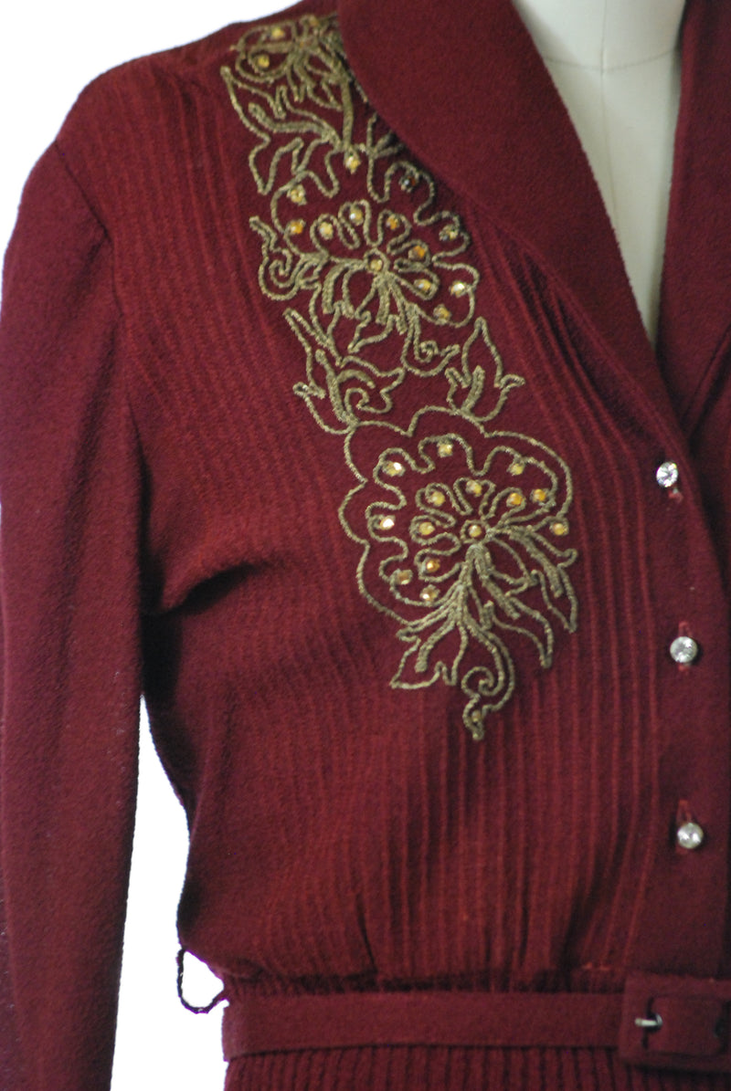 Stunning 1940 Dark Cranberry 1940s Wool and Rayon Blend Knit Set