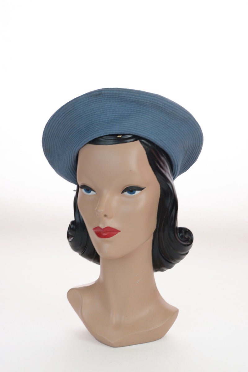 Cheery 1940s Aviation Blue Halo Hat in Ribbed Wool Felt