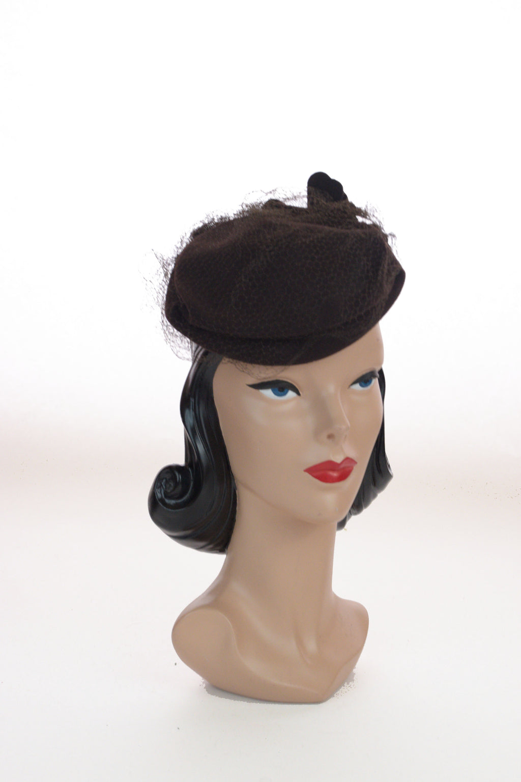 Darling 1940s Brown Felt Tilt Hat with Pressed Felt Flowers, a New York Creation