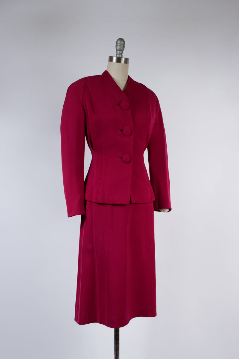 Dramatic Late 1940s Saturated Berry Colored Suit with Huge Fabric Buttons