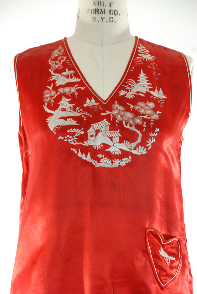 Amazing True Red 1920s Three Piece Chinese Silk Loungewear Pajama Ensemble