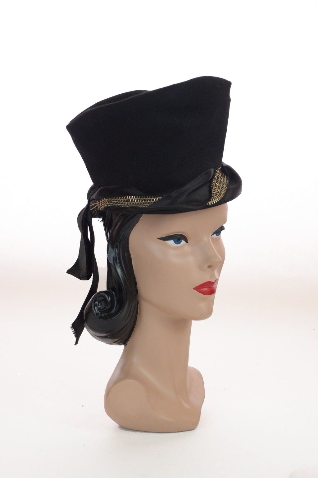 Bold 1940s FRED A BLOCK Super Tall Peaked Toque Hat with Metallic Trim