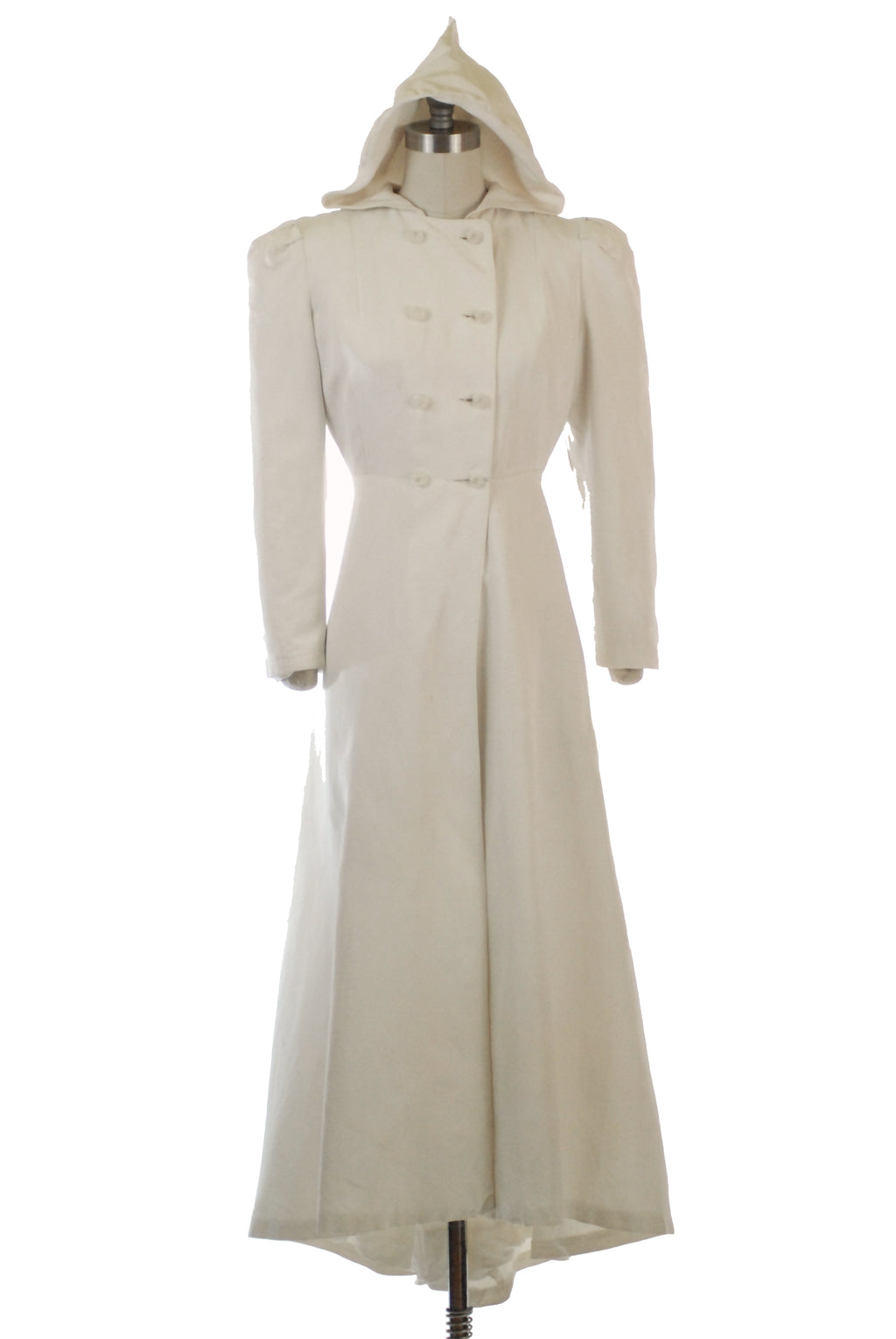 Gorgeous Late 1930s Hooded White Coat with Double Breasted Closure