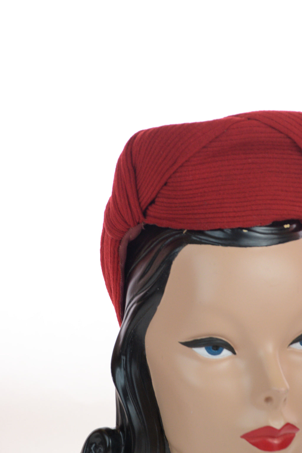 Fantastic 1940s Pleated Red Wool Structural Turban with Black Buckle Accent