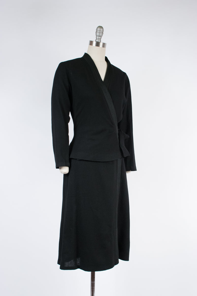 Versatile 1940s Two Piece Wool Crepe Set of Skirt and Wrap Style Top