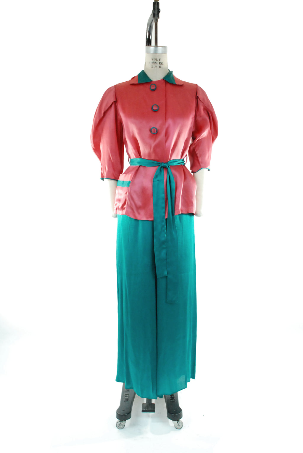 Gorgeous 1940s Satin Pajamas Loungwear in Fuchsia and Teal Colorblock