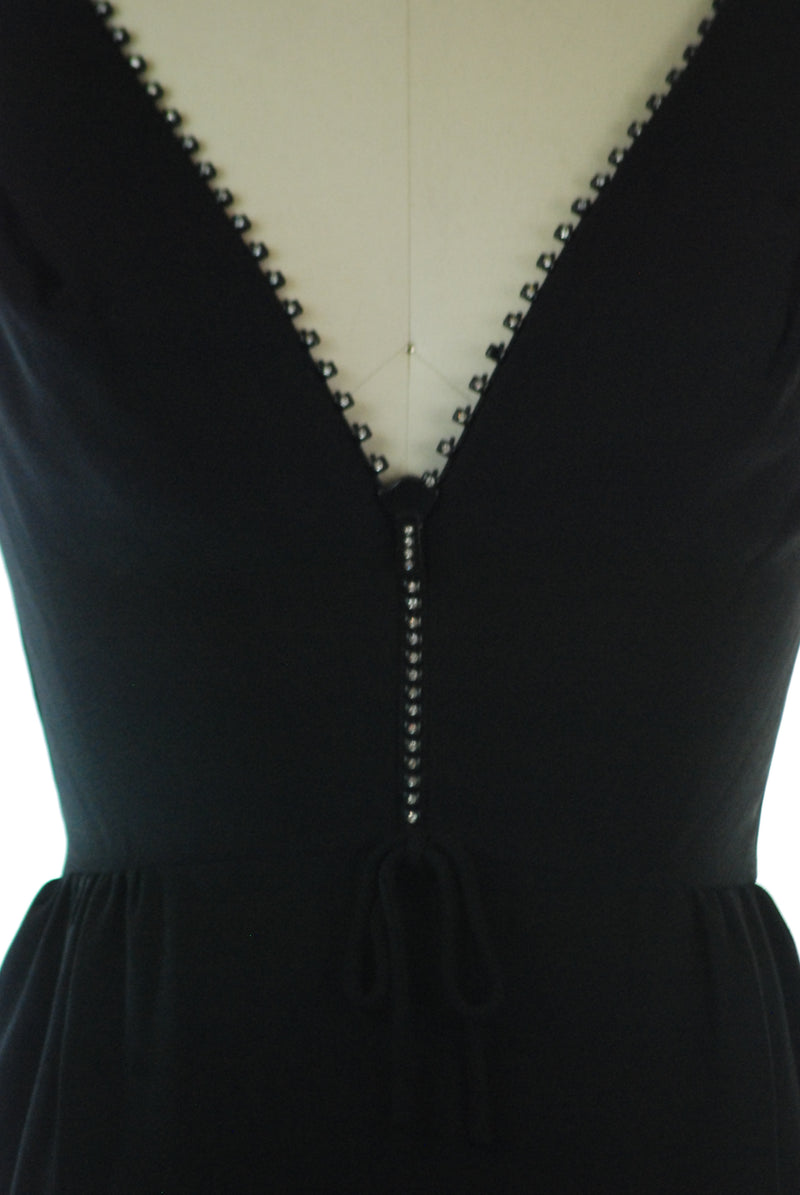 Insanely Hot 1960s Cocktail Dress with Working Rhinestone-Tooth Bodice Zipper