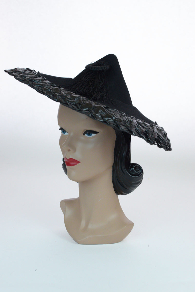 Wonderful 1940s Peaked Witch Hat with Cellophane Trim and Large Tassel, a New York Creation
