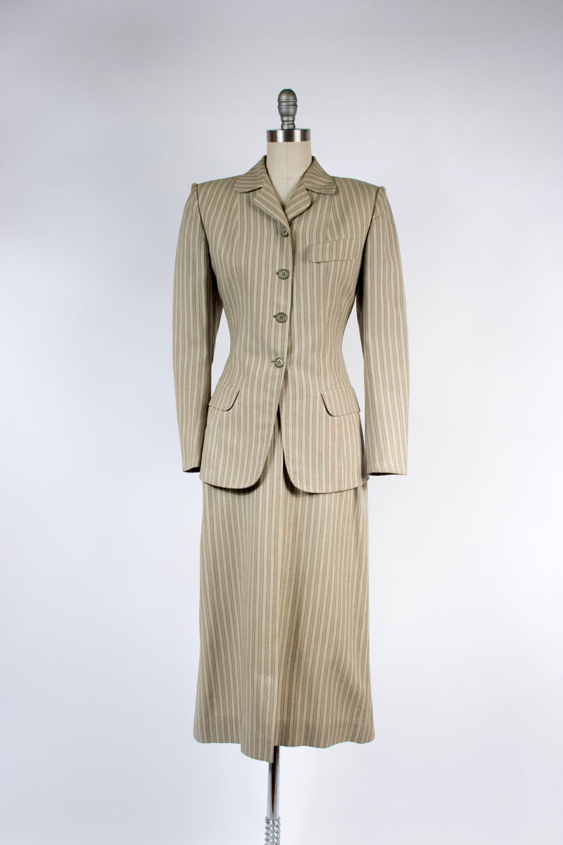 Crisp Early 1950s Tailored Suit in Green and Brown Stripes on Ivory