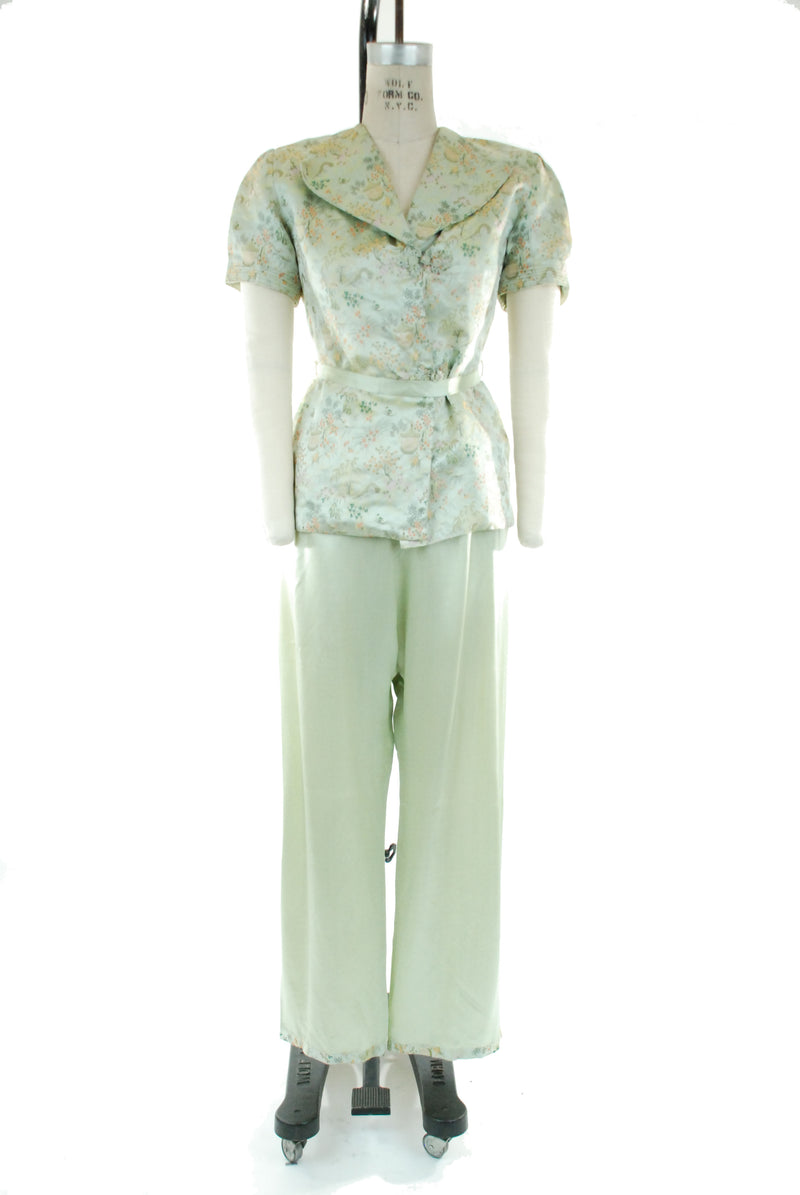 Fabulous Chinese Green Brocade and Satin 40s Loungewear Set