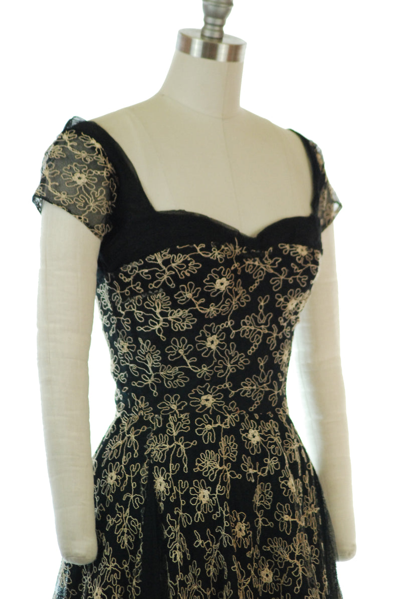 Breathtaking Late 1940s Embroidered Black Tulle Evening Dress with Wide Neckline and Pleated Bust