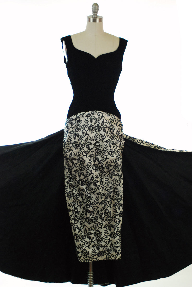 Dramatic 1950s Evening Gown with Incredible Ruched Wiggle Skirt and Waterfall Back-Draped Train