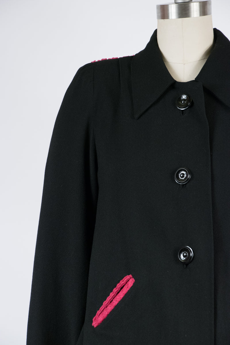 Rare 1940s Maternity Powersuit in Black Wool with Bold Fuchsia Corduroy Colorblock