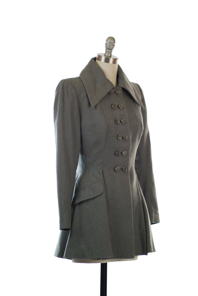 Fantastic New Look Late 1940s Double Breasted Grey Jacket with Long Peplum Cut