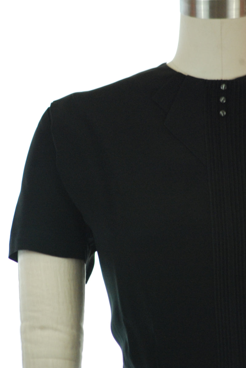 Smart 1940s Black Rayon Blouse