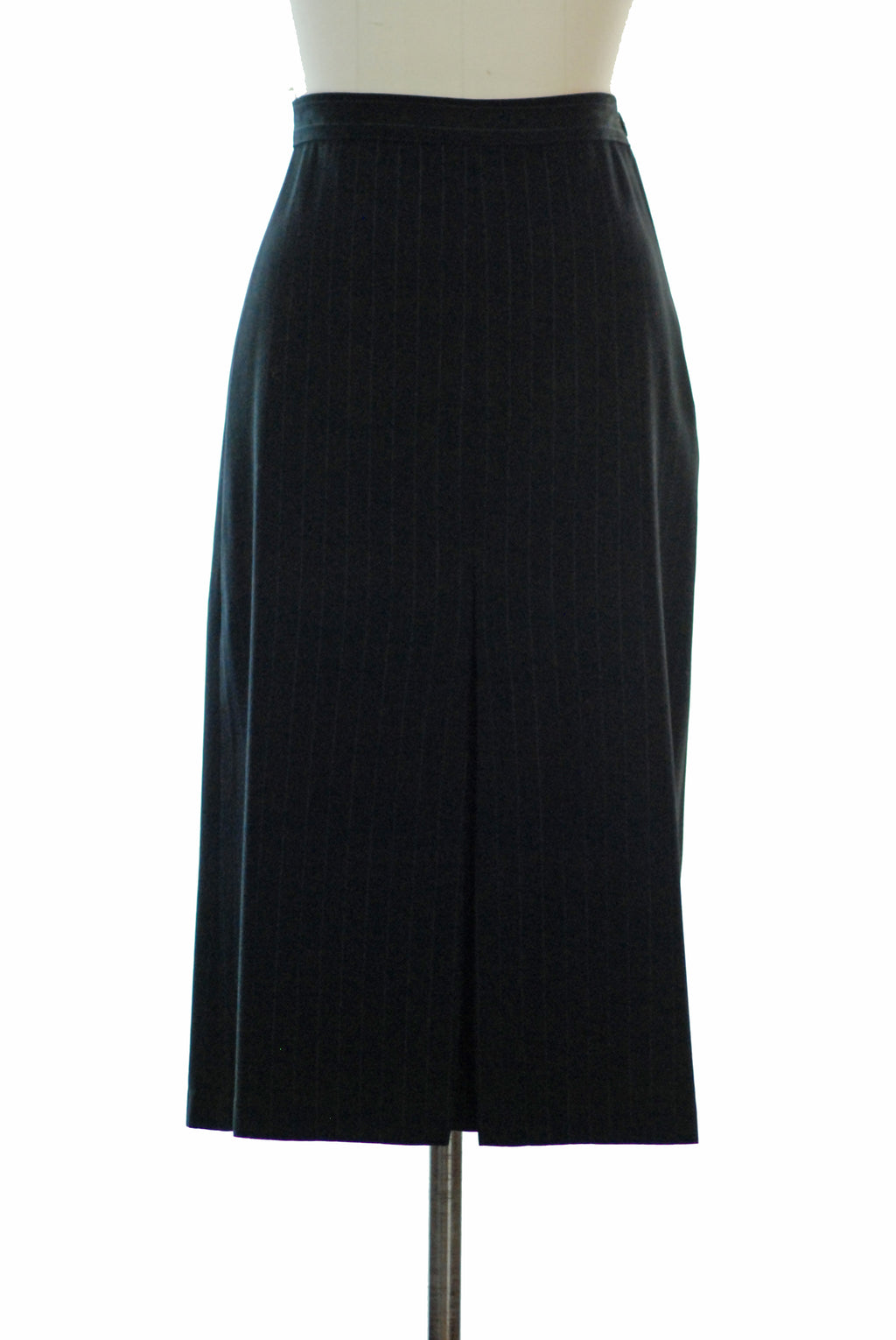 Classic 1940s Pinstripe Wool Skirt with Slight A-line Cut and Center Pleats