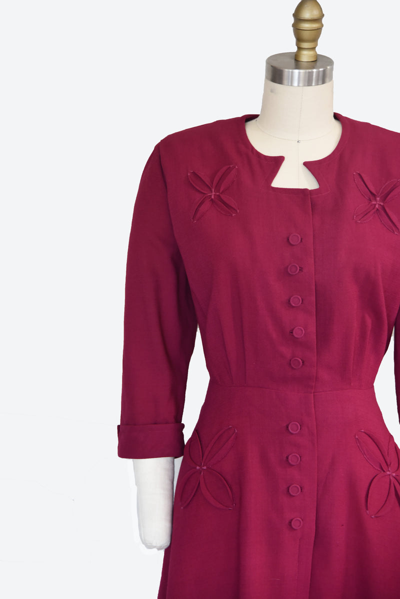 Charming 1940s Wool Cranberry Dress with Floral Stitched Design