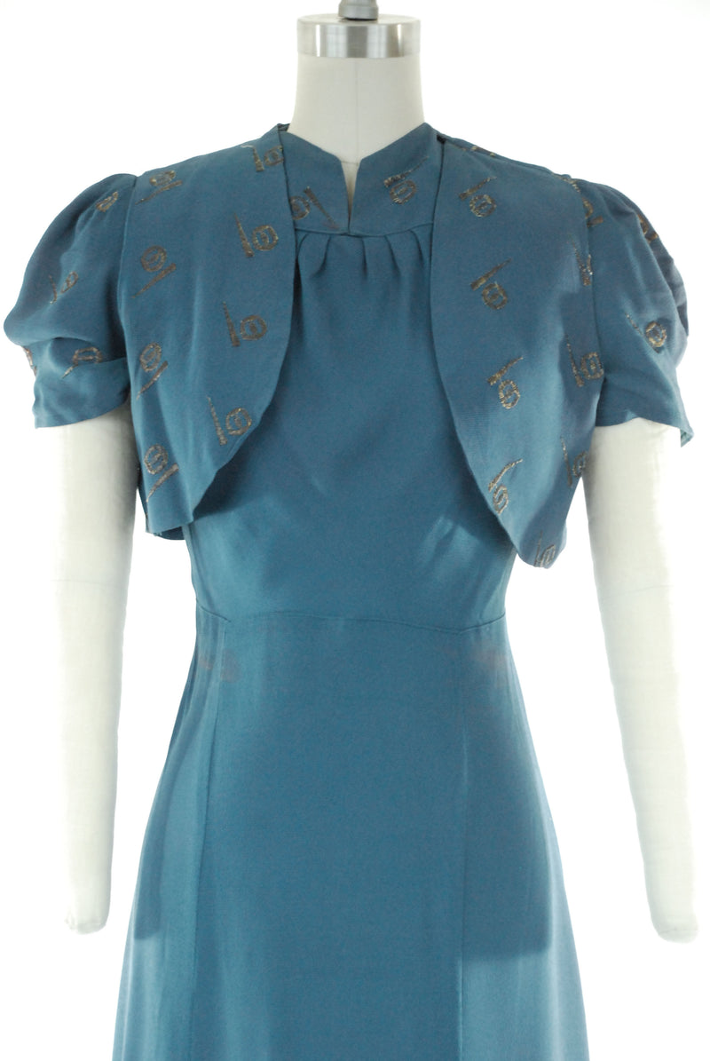 Rare 1939 Trylon and Perisphere Themed Puff Sleeve 30s Worlds Fair Dress Set