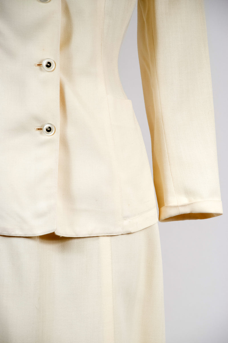 Classic 1940s Sacony Palm Beach Summer Suit in Original Ivory Cloth
