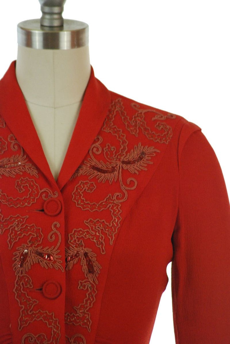 Stunning 1940s True Red Rayon Blouse with Sequins and Soutache