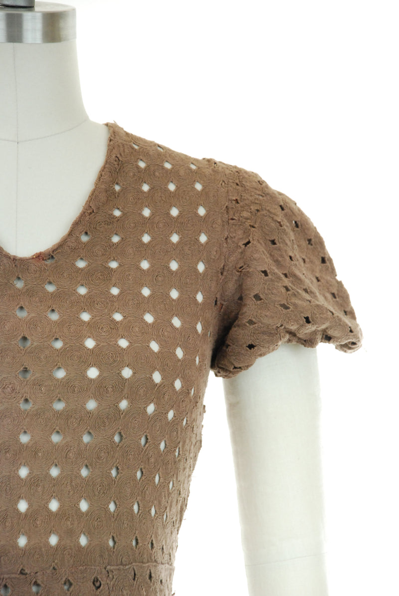 Charming 1930s Dress of Brown Spiral Stitched Eyelet Lace with Puffed Sleeves