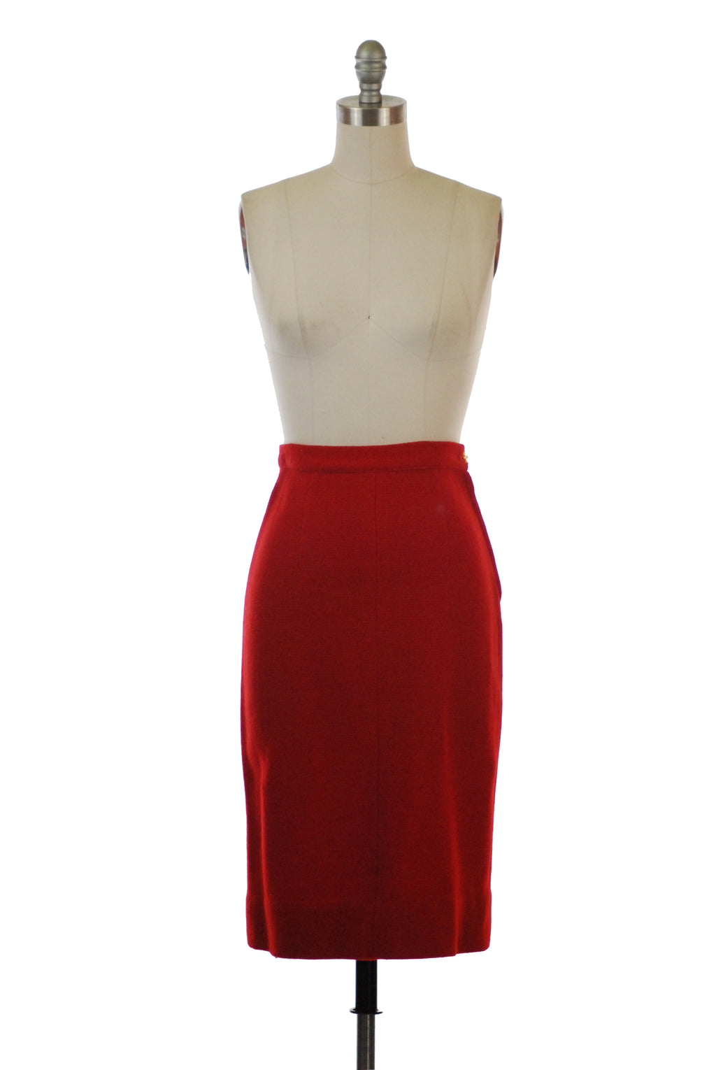 1950s Smart Red Wool Straight Skirt