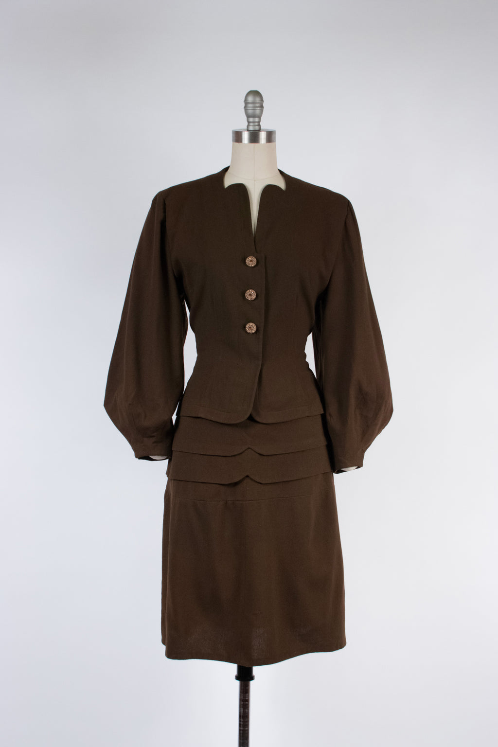 Layaway Deposit for Rare Late 1930s/Early 1940s Sally MILGRIM Wool Suit with Massive Lantern Sleeves