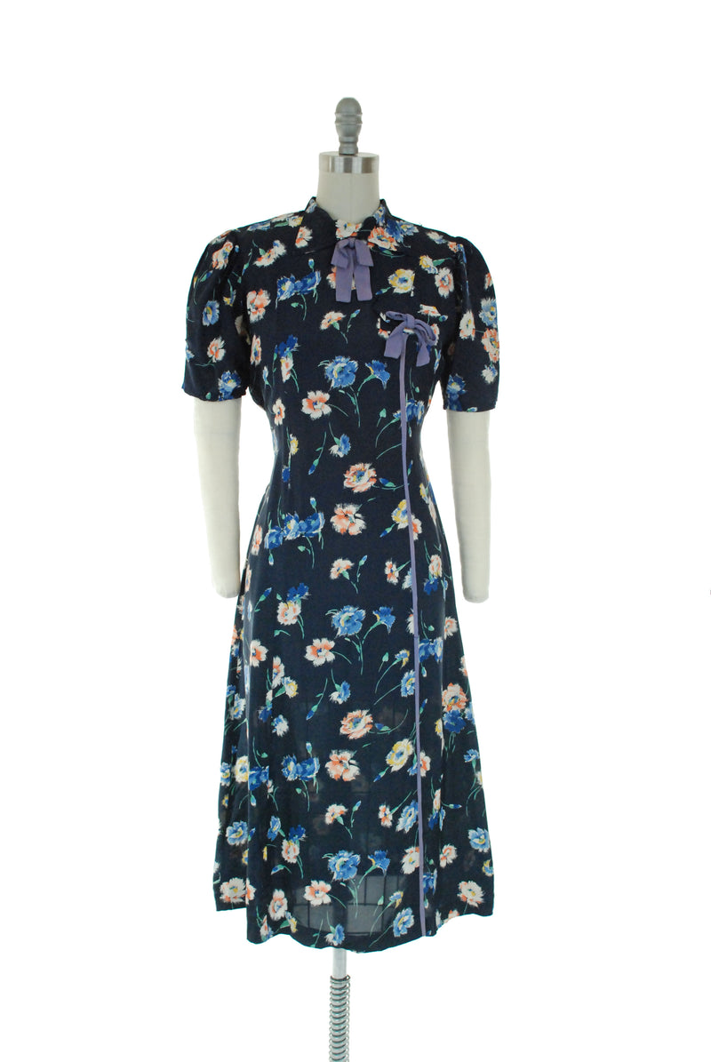 Adorable Late 1930s Dress in Navy Blue Cold Rayon with Floral Print and Periwinkle Bows