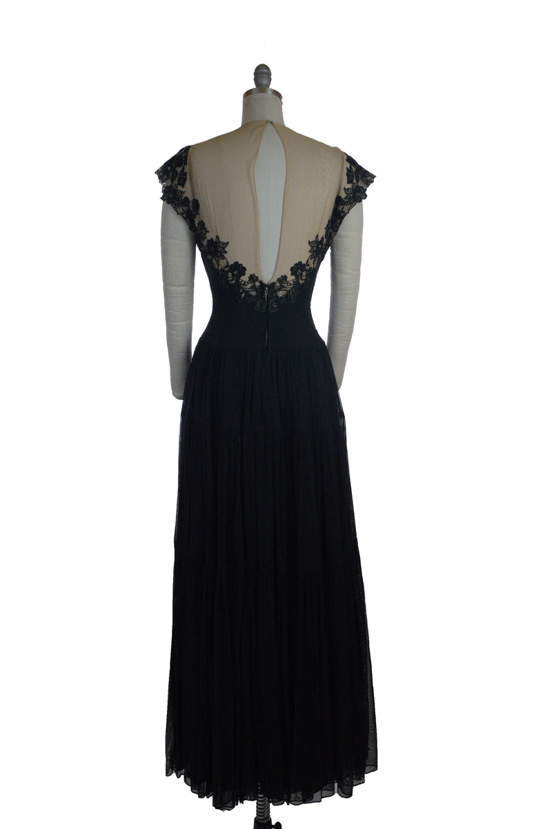 Exquisite 1940s Peggy Hunt Nude Illusion Evening Gown with Dramatic Sheer Back
