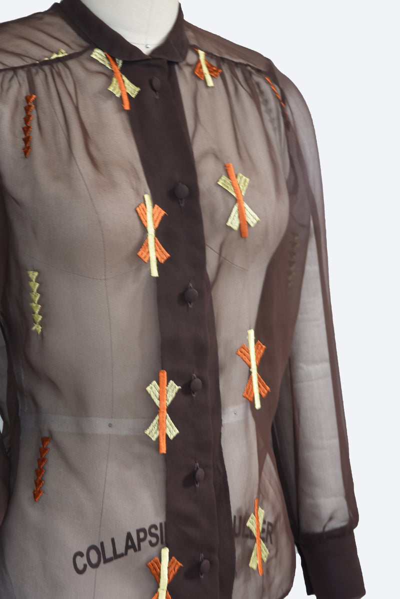 Lovely 1970s does 1930s Sheer Deep Brown Blouse with Autumnal Embroidery
