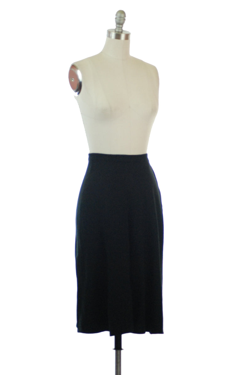 1940s Timeless Black Wool Gabardine Skirt with A-Line Cut and Center Pleat