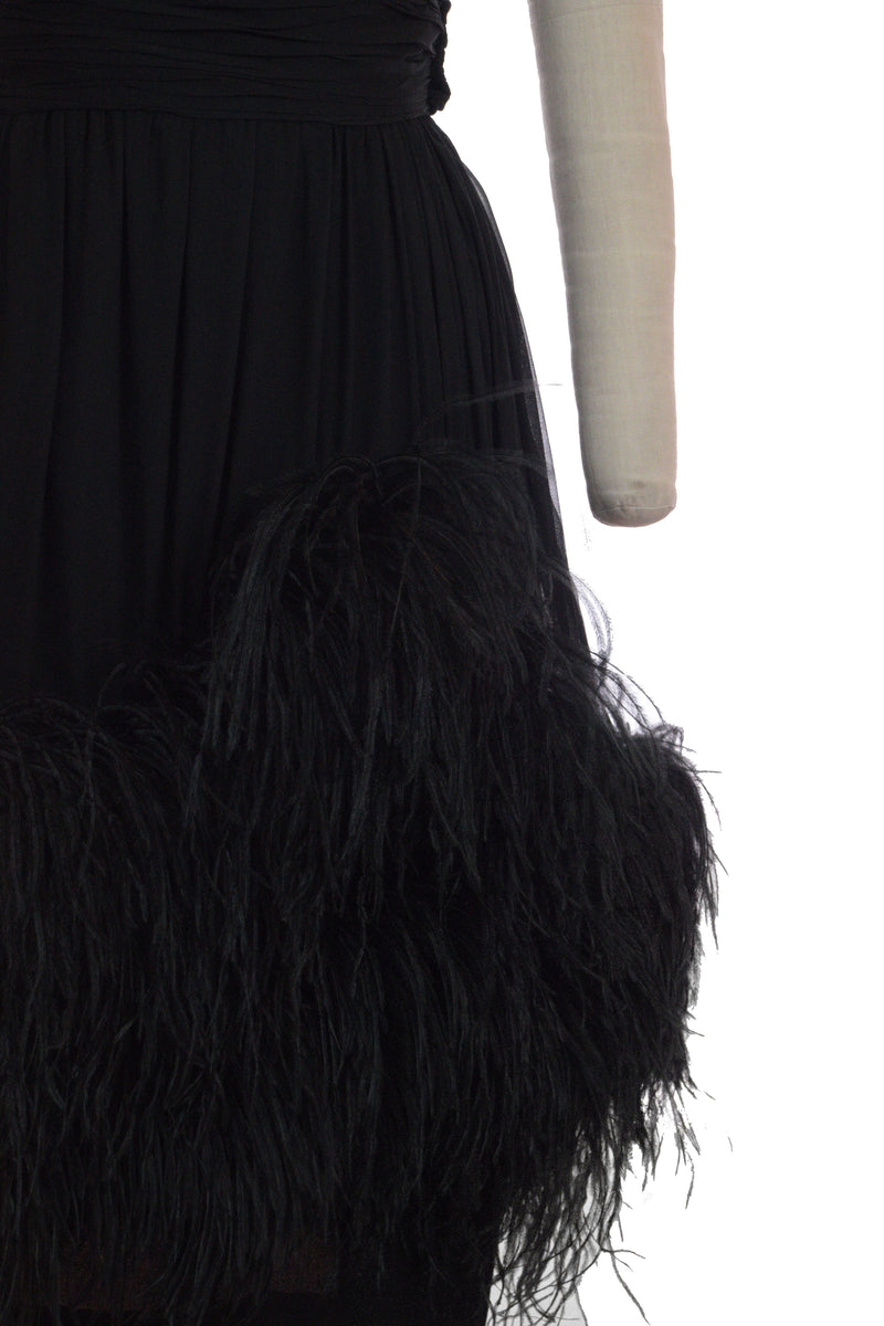 Chic Early 1960s Ceil Chapman Silk Cocktail Dress with Weighted, Ostrich Feather Trimmed Skirt