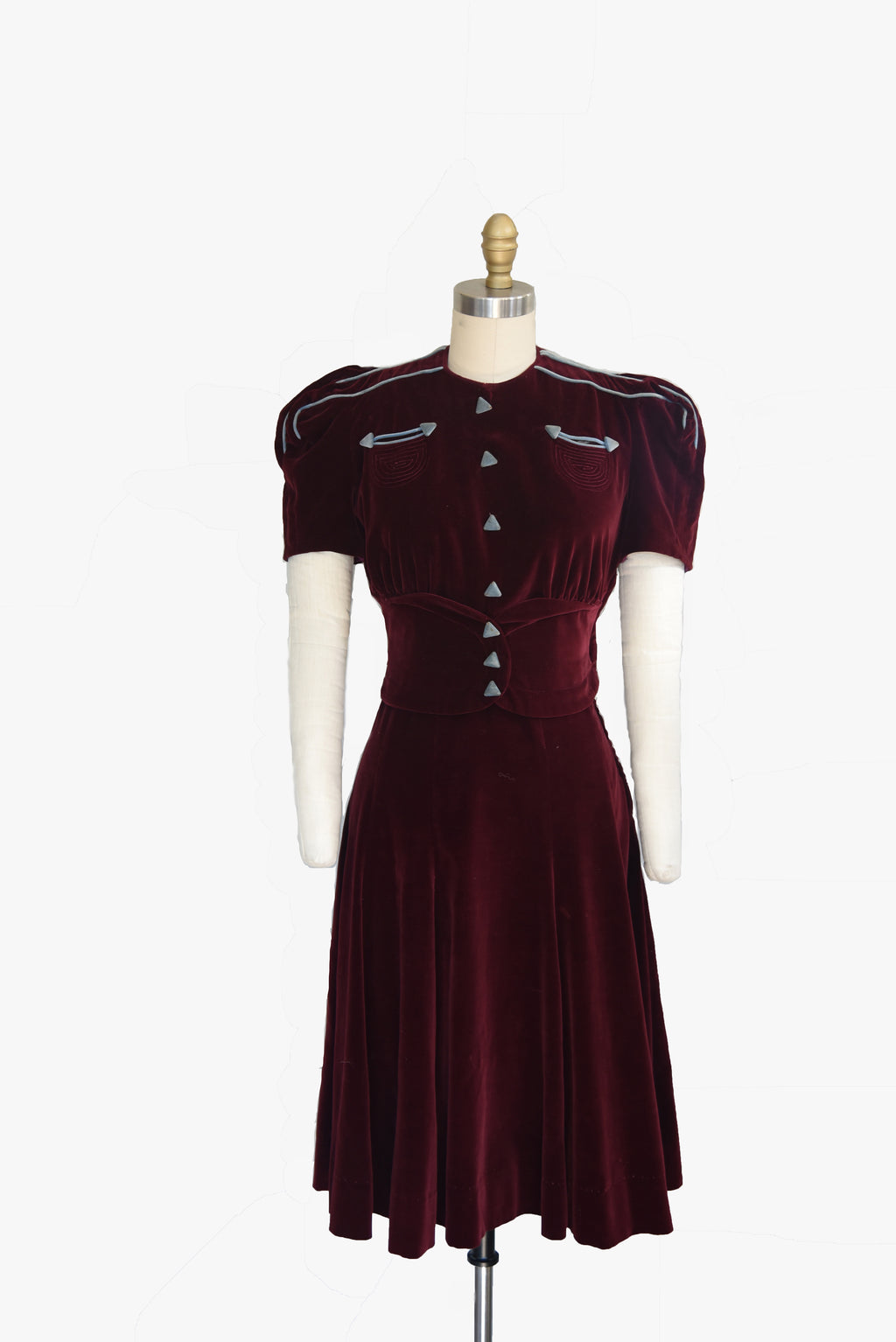 Show Stopping 1930s Velveteen Dress with Arrow Details