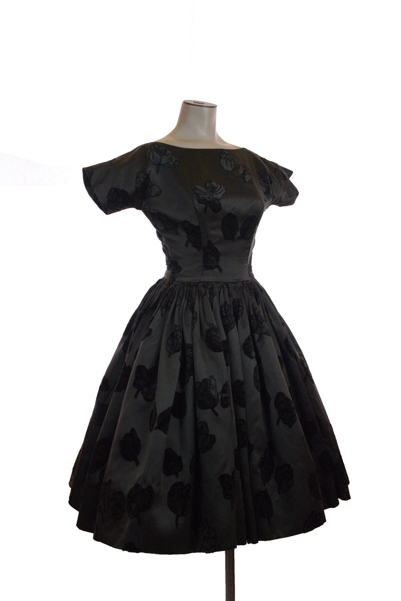 RARE 1950s Novelty Print Dress with Venice Themed Border Print Skirt