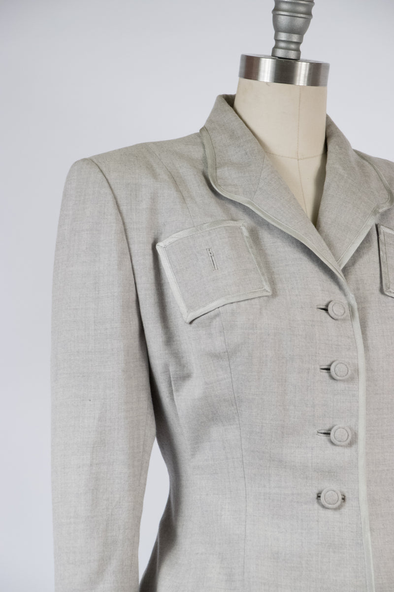 Timeless 1950s Lily Annette Petite Height Lilli Ann Wool Suit in Pastel Grey and White Fabric of France