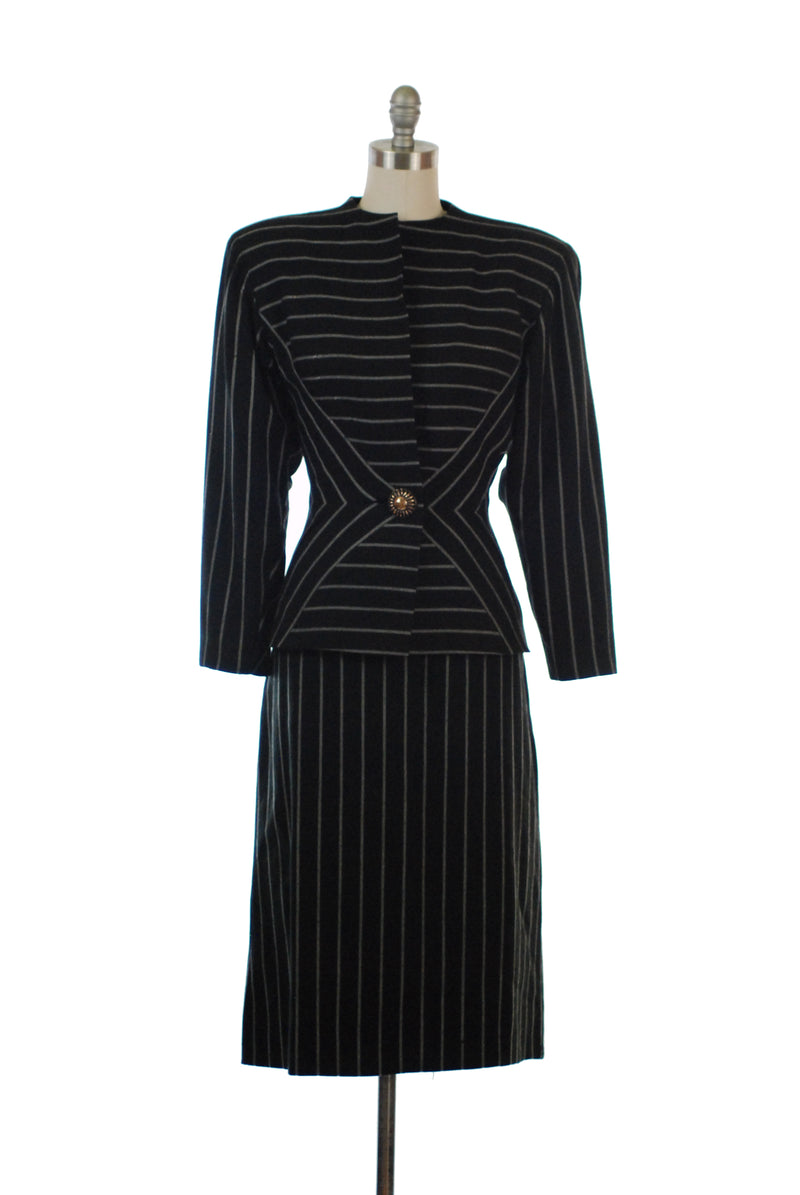 "Incredible 1940s Fred A. Block ""His Girl Friday"" Striped Power Suit with Matching Hat, As is"